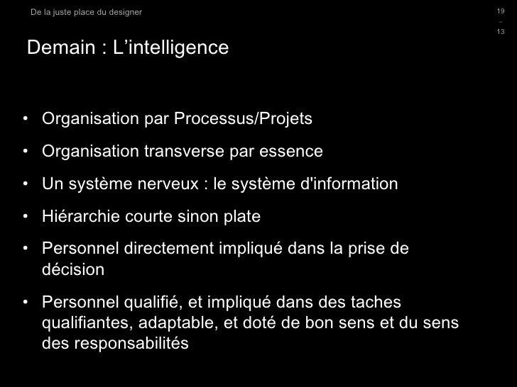 Demain : L'intelligence <ul><li>Organisation par Processus/Projets </li></ul><ul><li>Organisation transverse par essence <...