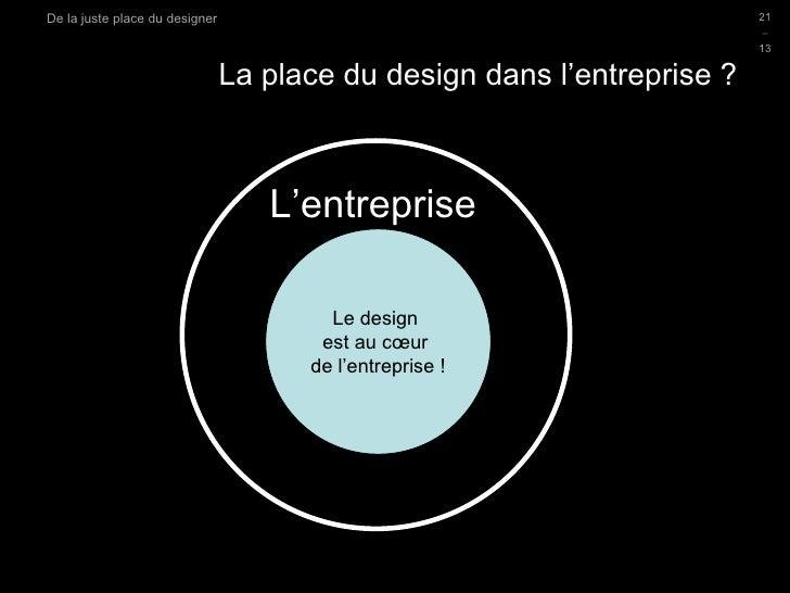 La place du design dans l'entreprise ? D.Sciamma Du Design Post-Industriel Le design  est au cœur  de l'entreprise ! L'ent...
