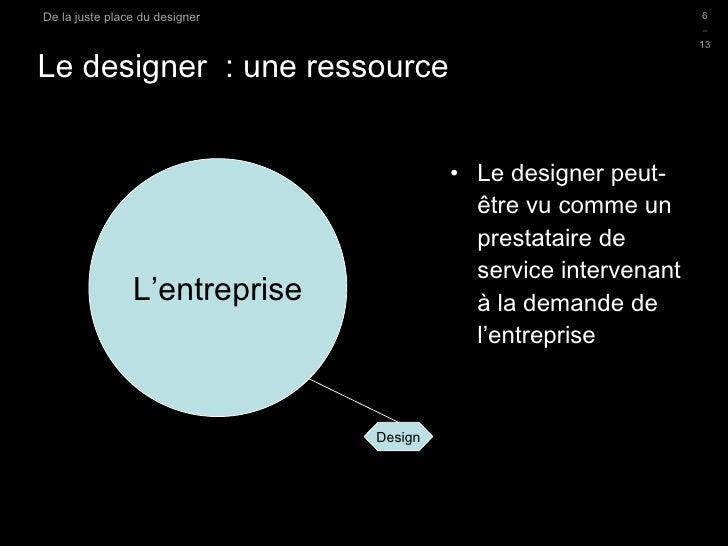 Le designer  : une ressource <ul><li>Le designer peut-être vu comme un prestataire de service intervenant à la demande de ...