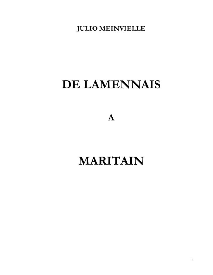 JULIO MEINVIELLEDE LAMENNAIS        A  MARITAIN                    1