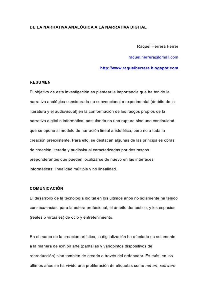 DE LA NARRATIVA ANALÓGICA A LA NARRATIVA DIGITAL                                                               Raquel Herr...