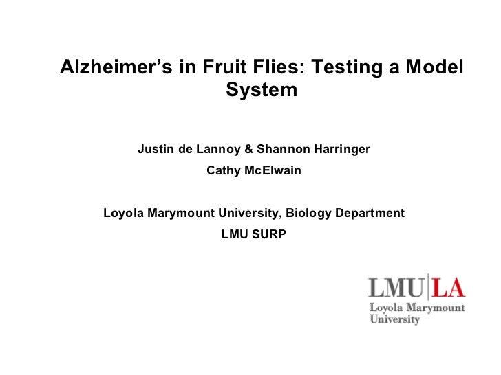 Alzheimer 's in Fruit Flies: Testing a Model System Justin de Lannoy & Shannon Harringer Cathy McElwain Loyola Marymount U...