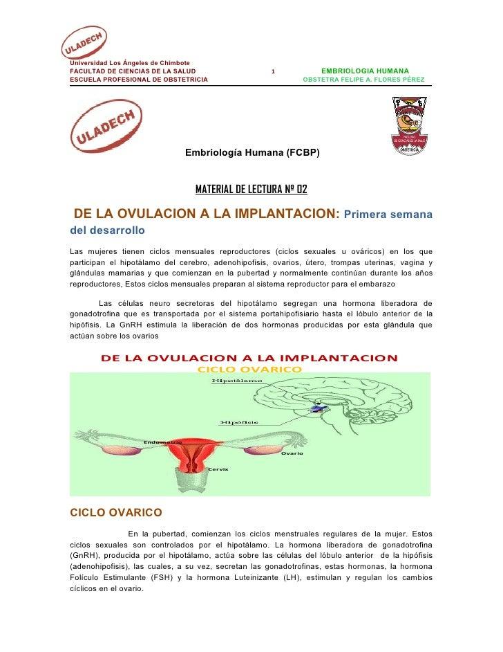 Universidad Los Ángeles de ChimboteFACULTAD DE CIENCIAS DE LA SALUD                     1             EMBRIOLOGIA HUMANAES...