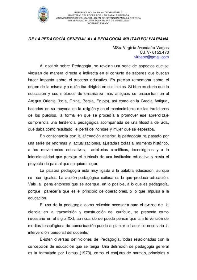 REPÚBLICA BOLIVARIANA DE VENEZUELA  MINISTERIO DEL PODER POPULAR PARA LA DEFENSA  VICEMINISTERIO DE EDUCACIÓNACION DE EXTE...