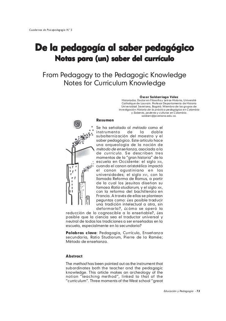 Cuadernos de Psicopedagogía N.° 5    De la pedagogía al saber pedagógico                   Notas para (un) saber del currí...