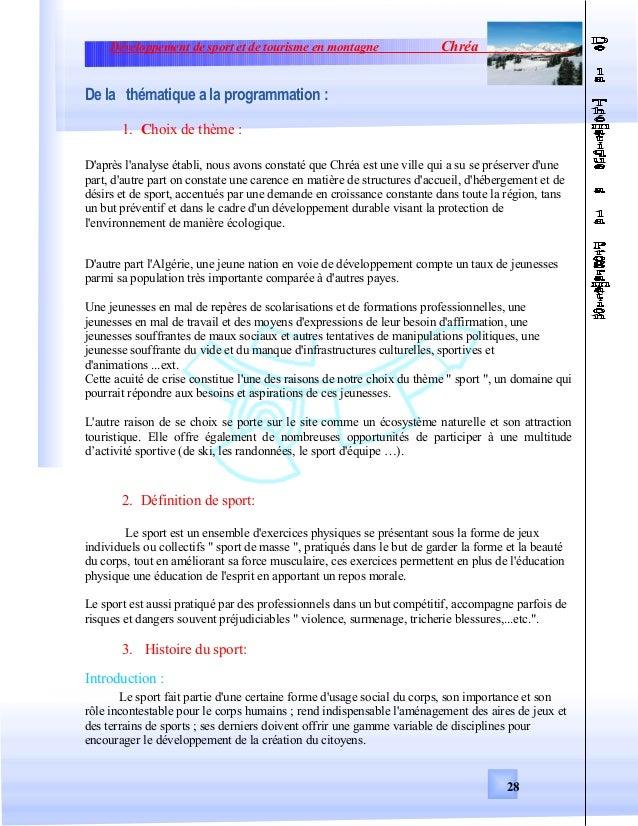 Développement de sport et de tourisme en montagne ChréaDe la thématique a la programmation :1. Choix de thème :Daprès lana...