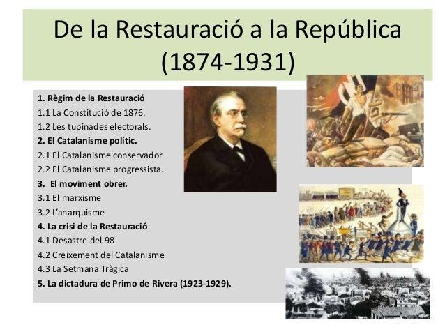 De la Restauració a la República (1874-1931) 1. Règim de la Restauració 1.1 La Constitució de 1876. 1.2 Les tupinades elec...