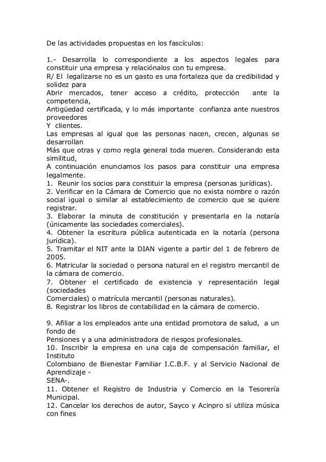 De las actividades propuestas en los fascículos:1.- Desarrolla lo correspondiente a los aspectos legales paraconstituir un...