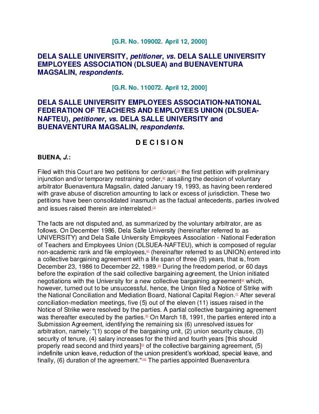 [G.R. No. 109002. April 12, 2000]DELA SALLE UNIVERSITY, petitioner, vs. DELA SALLE UNIVERSITYEMPLOYEES ASSOCIATION (DLSUEA...
