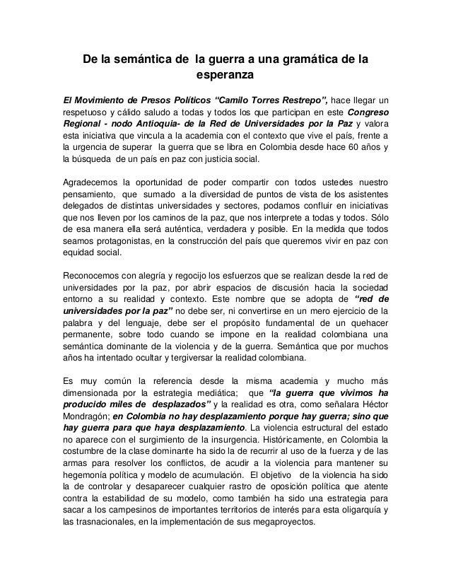 """De la semántica de la guerra a una gramática de la esperanza El Movimiento de Presos Políticos """"Camilo Torres Restrepo"""", h..."""
