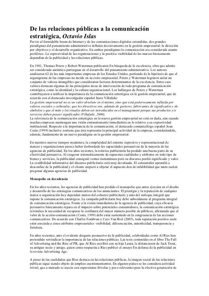 De las relaciones públicas a la comunicaciónestratégica, Octavio IslasPrevio al formidable boom de Internet y de las comun...