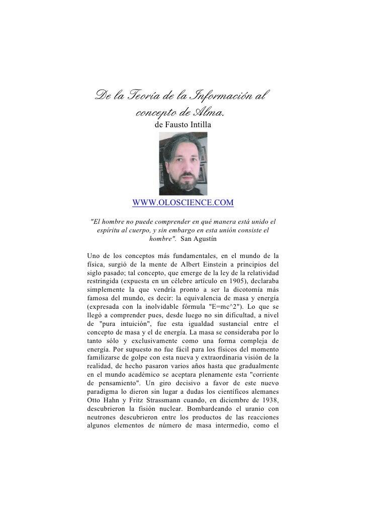 De la Teoría de la Información al           concepto de Alma.                        de Fausto Intilla                    ...