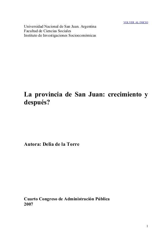 VOLVER AL INICIO  Universidad Nacional de San Juan. Argentina Facultad de Ciencias Sociales Instituto de Investigaciones S...
