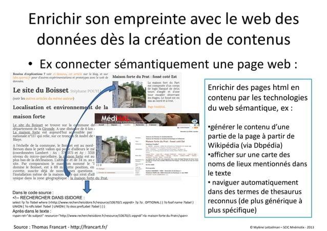 Enrichir son empreinte avec le web des données dès la création de contenus • Ex connecter sémantiquement une page web : En...