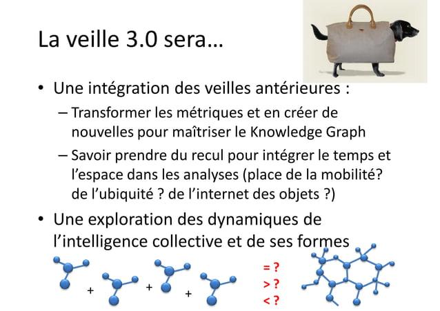 La veille 3.0 sera… • Une intégration des veilles antérieures : – Transformer les métriques et en créer de nouvelles pour ...