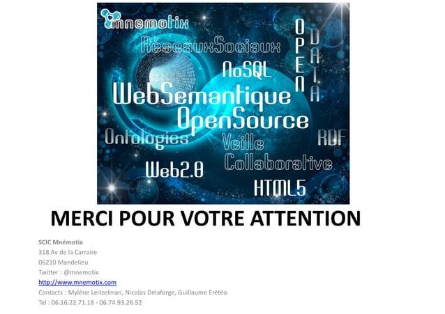 MERCI POUR VOTRE ATTENTION SCIC Mnémotix 318 Av de la Carraire 06210 Mandelieu Twitter : @mnemotix http://www.mnemotix.com...