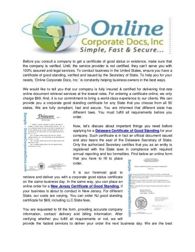 Delaware Certificate Ofgoodstandingforyourbusinessindelaware