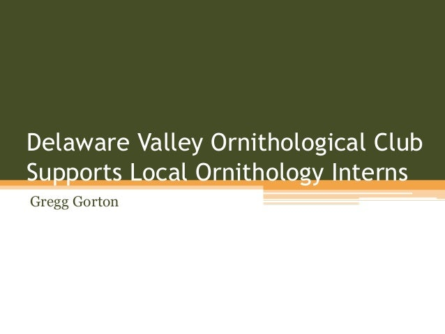Delaware Valley Ornithological Club Supports Local Ornithology Interns Gregg Gorton