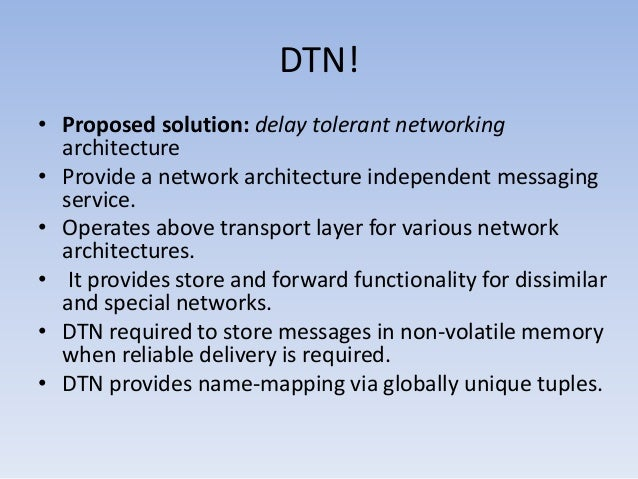 delay tolerant network thesis Delay-tolerant networking at aalto of bundle protocol stack for delay-tolerant networking master thesis for mobile delay-tolerant networks.