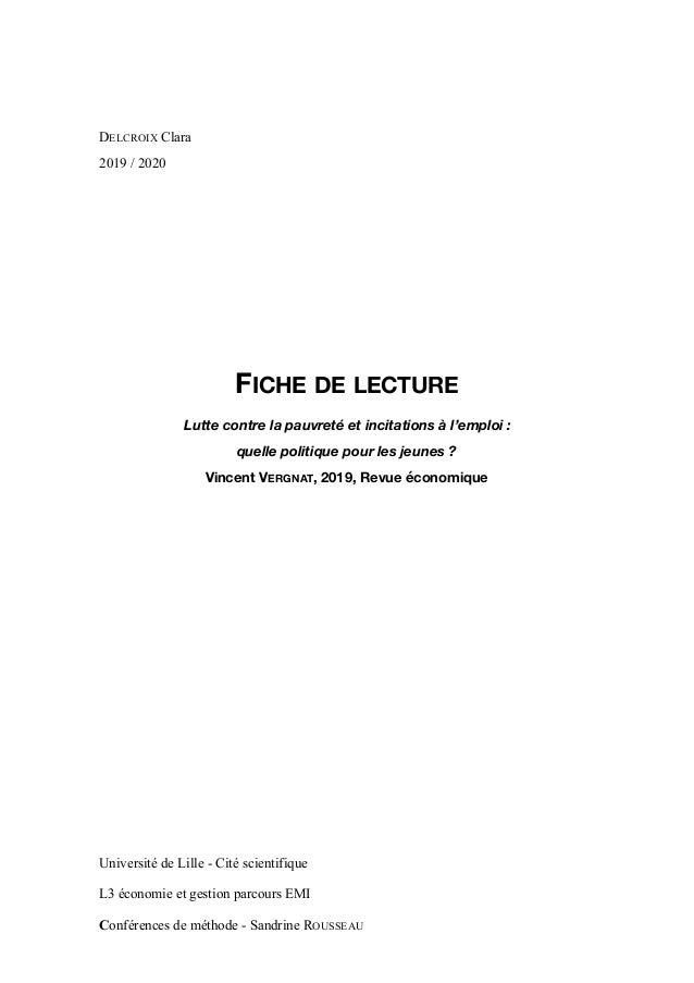 DELCROIX Clara 2019 / 2020 FICHE DE LECTURE Lutte contre la pauvreté et incitations à l'emploi : quelle politique pour le...