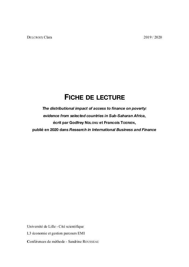 DELCROIX Clara 2019 / 2020 FICHE DE LECTURE The distributional impact of access to finance on poverty: evidence from selec...