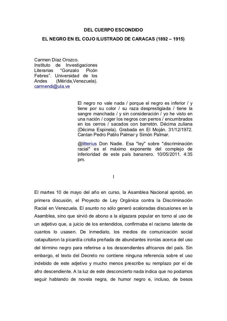 DEL CUERPO ESCONDIDO EL NEGRO EN EL COJO ILUSTRADO DE CARACAS (1892 – 1915)
