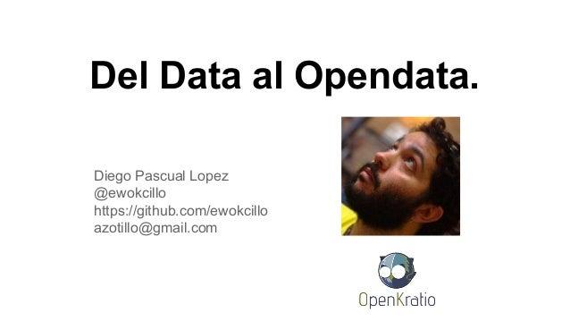 Del Data al Opendata. Diego Pascual Lopez @ewokcillo https://github.com/ewokcillo azotillo@gmail.com