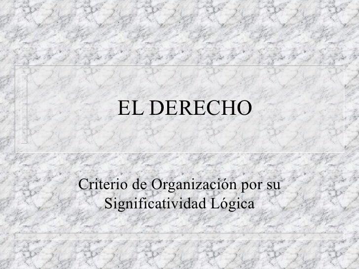 EL DERECHO Criterio de Organización por su Significatividad Lógica