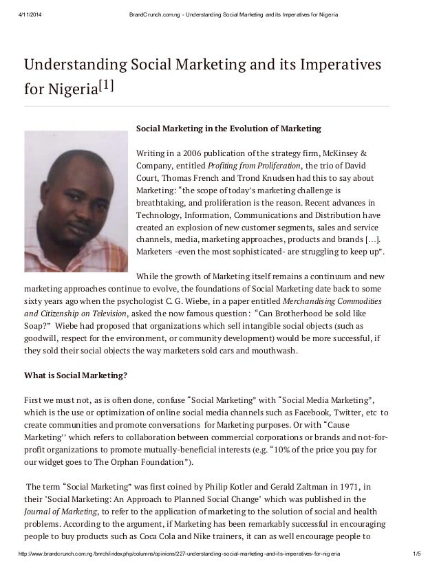 4/11/2014 BrandCrunch.com.ng - Understanding Social Marketing and its Imperatives for Nigeria http://www.brandcrunch.com.n...