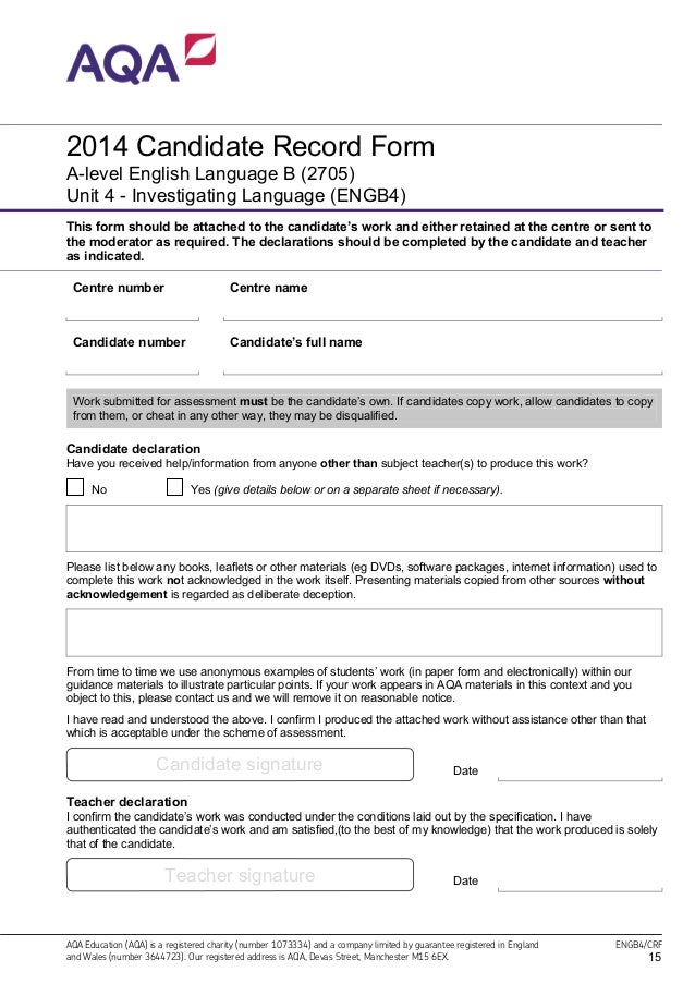 aqa english literature gce coursework mark scheme