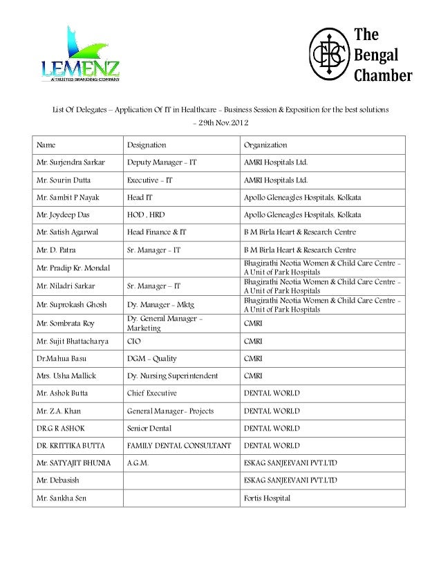 List Of Delegates – Application Of IT in Healthcare - Business Session & Exposition for the best solutions - 29th Nov.2012...