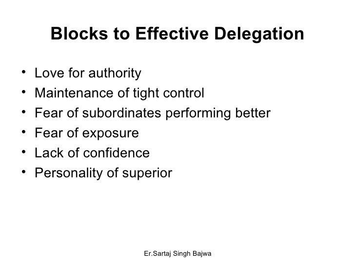 Blocks to Effective Delegation <ul><li>Love for authority </li></ul><ul><li>Maintenance of tight control </li></ul><ul><li...