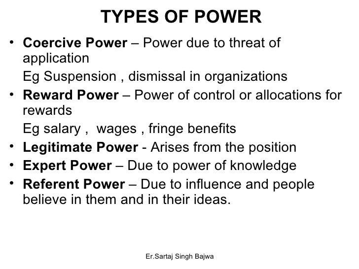 TYPES OF POWER <ul><li>Coercive Power  – Power due to threat of application </li></ul><ul><li>Eg Suspension , dismissal in...