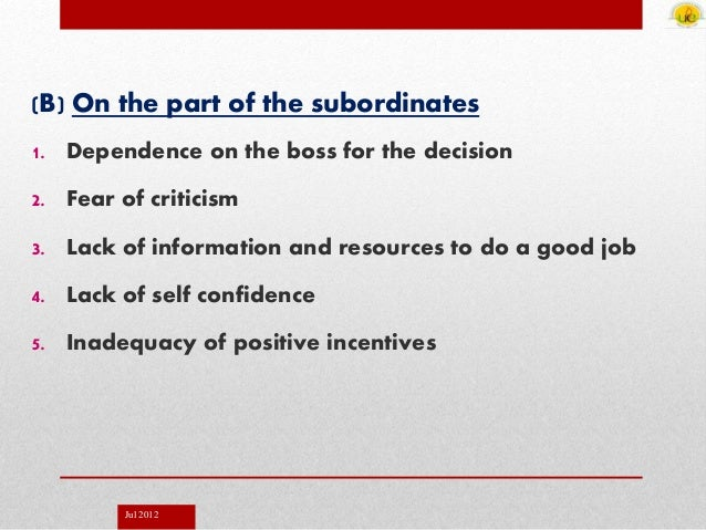 Jul 2012 (B) On the part of the subordinates 1. Dependence on the boss for the decision 2. Fear of criticism 3. Lack of in...