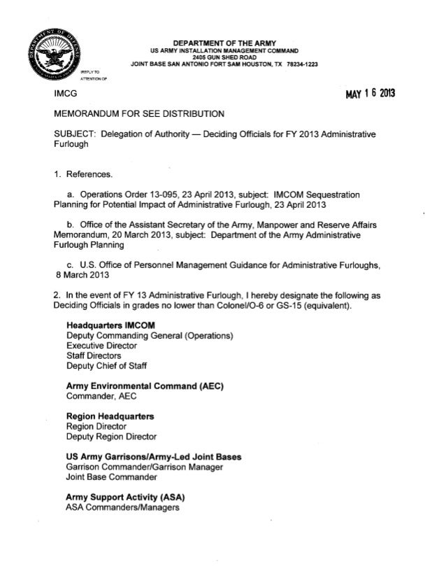 Delegation of authority memo