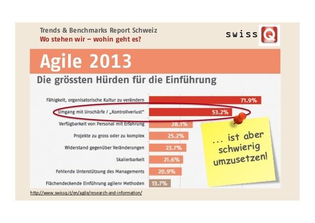 h;p://www.swissq.it/en/agile/research-‐and-‐informaEon/     Trends & Benchmarks Report Schweiz Wo stehen wir – wohin...