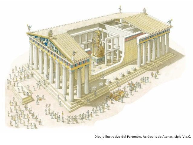 Dibujo ilustrativo del Partenón. Acrópolis de Atenas, siglo V a.C.
