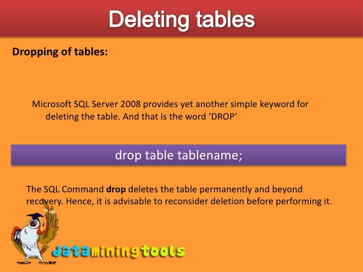 how to delete table in sql server