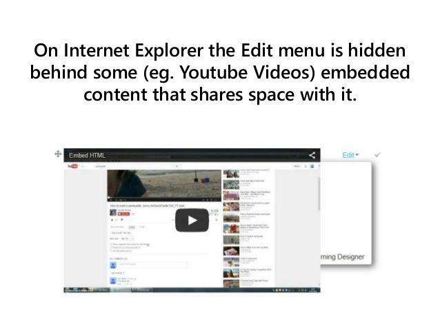 Deleting embedded content in Internet Explorer Slide 2