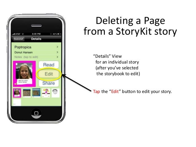 """""""Details"""" View for an individual story (after you've selected the storybook to edit) Tap the """"Edit"""" button to edit your st..."""