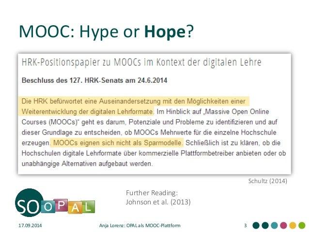 OPAL als MOOC-Plattform: Ein Lernmanagementsystem wird geöffnet #delfi2014 Slide 3