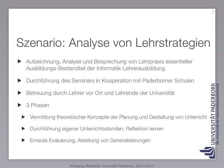5     Szenario: Analyse von Lehrstrategien  Aufzeichnung, Analyse und Besprechung von Lehrpraxis essentieller  Ausbildungs...