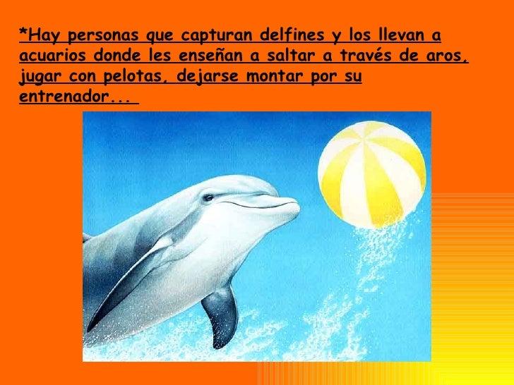 *Hay personas que capturan delfines y los llevan a acuarios donde les enseñan a saltar a través de aros, jugar con pelotas...