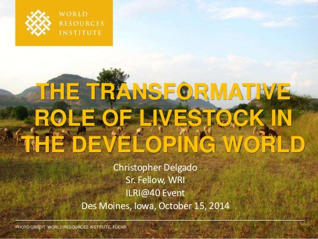 THE TRANSFORMATIVE  ROLE OF LIVESTOCK IN  THE DEVELOPING WORLD  Christopher Delgado  Sr. Fellow, WRI  ILRI@40 Event  Des M...