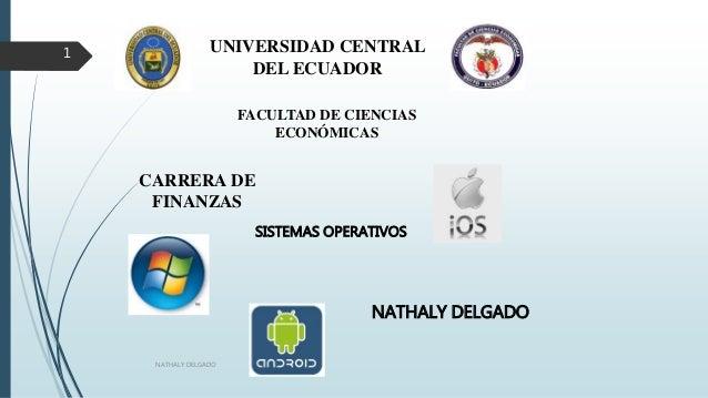 UNIVERSIDAD CENTRAL DEL ECUADOR FACULTAD DE CIENCIAS ECONÓMICAS CARRERA DE FINANZAS NATHALY DELGADO SISTEMAS OPERATIVOS NA...
