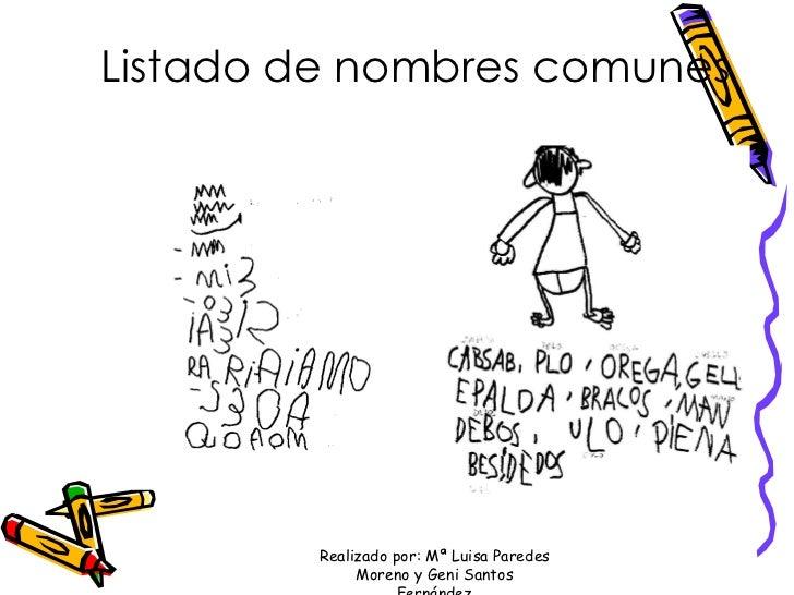 Listado de nombres comunes Realizado por: Mª Luisa Paredes Moreno y Geni Santos Fernández