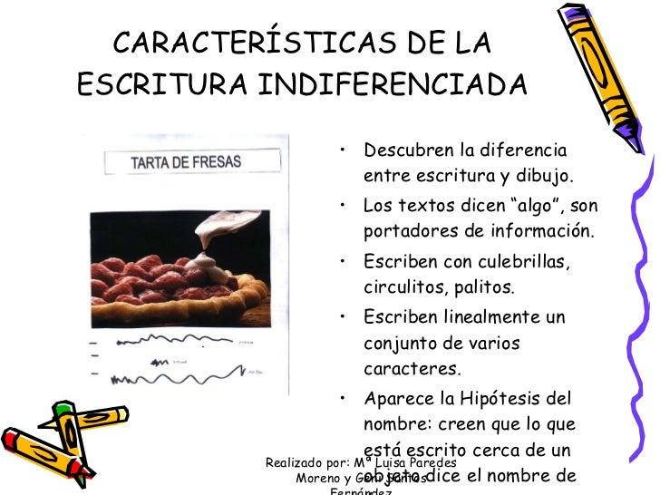 CARACTERÍSTICAS DE LA ESCRITURA INDIFERENCIADA <ul><li>Descubren la diferencia entre escritura y dibujo. </li></ul><ul><li...
