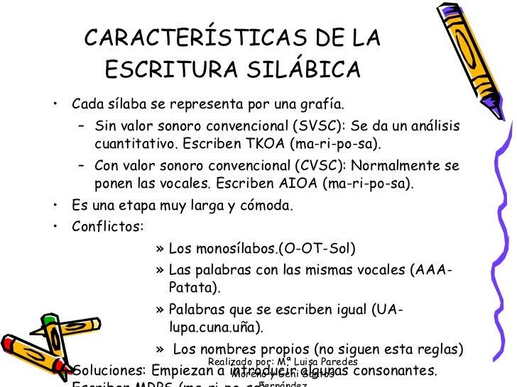 CARACTERÍSTICAS DE LA ESCRITURA SILÁBICA <ul><li>Cada sílaba se representa por una grafía.  </li></ul><ul><ul><li>Sin valo...