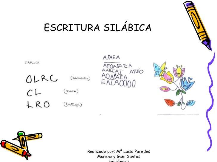 ESCRITURA SILÁBICA Realizado por: Mª Luisa Paredes Moreno y Geni Santos Fernández