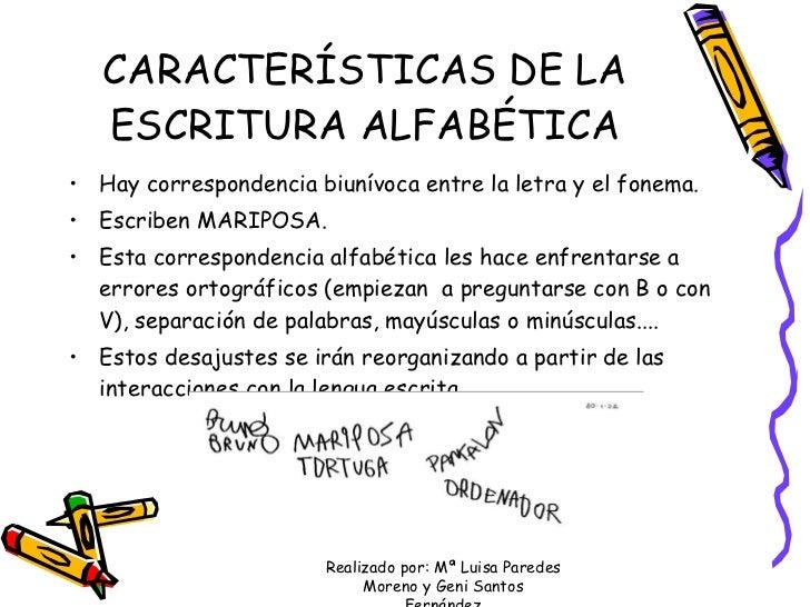 CARACTERÍSTICAS DE LA ESCRITURA ALFABÉTICA <ul><li>Hay correspondencia biunívoca entre la letra y el fonema. </li></ul><ul...